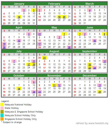 Year 2015 Malaysia Public Holiday Calendar